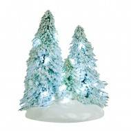 3 Snowy Trees Clustered on a Base, White LED Light, Battery Operated, 12cm